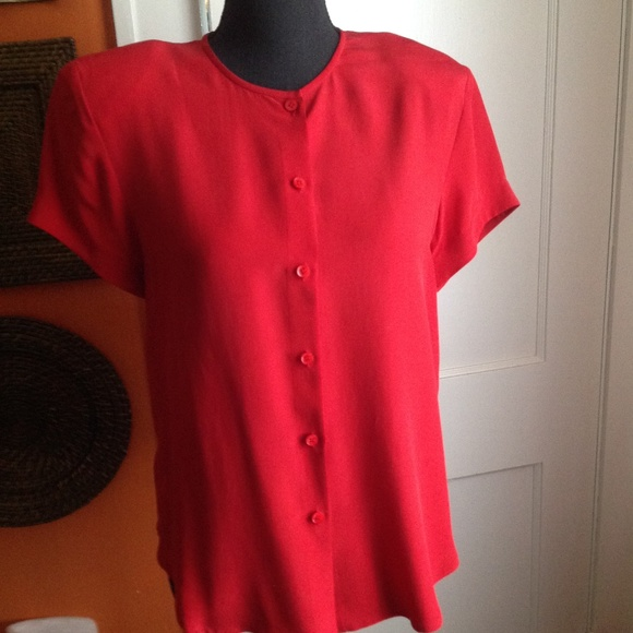 Jones New York Tops - Silk Button-Down Short Sleeve Red Blouse Size 4Red